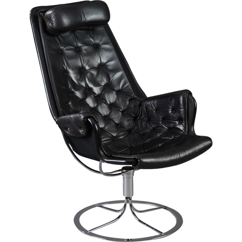 Vintage Jetson armchair for Dux in black leather and metal 1980