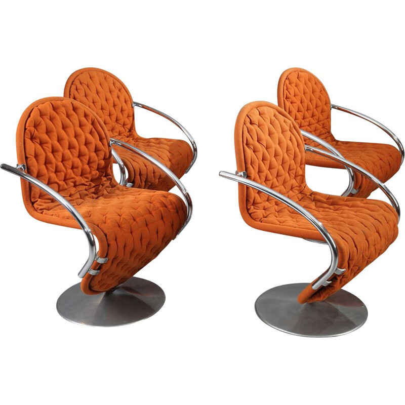 Vintage 1-2-3 System orange armchair by Verner Panton for Fritz Hansen