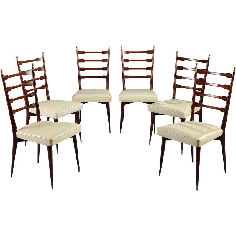 Vintage italian set of 6 chairs and table in oak and mahogany 1960