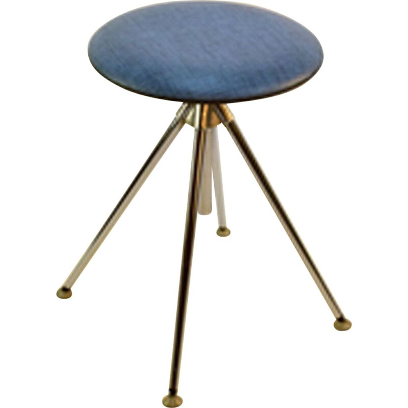 Vintage german rotary stool in blue leatherette and steel 1960