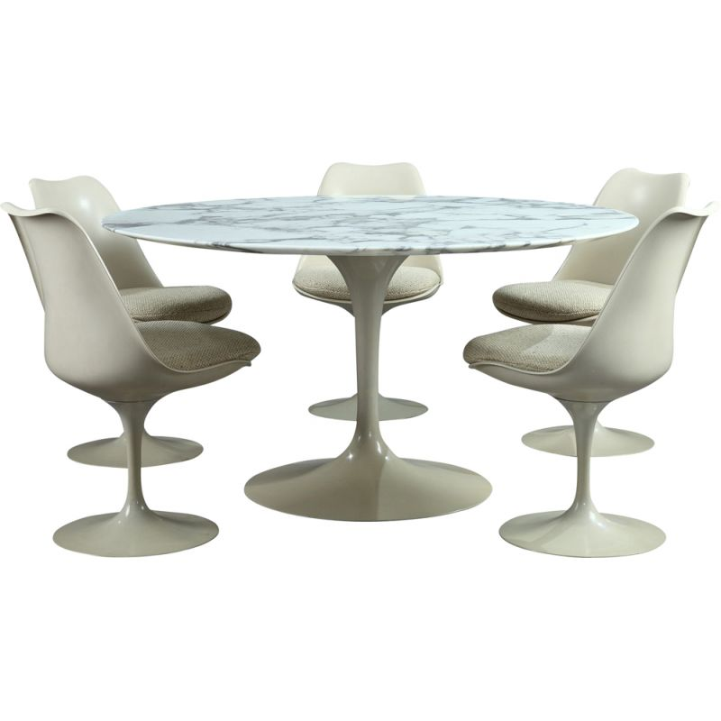 Vintage Tulip dining set in marble and glass fiber