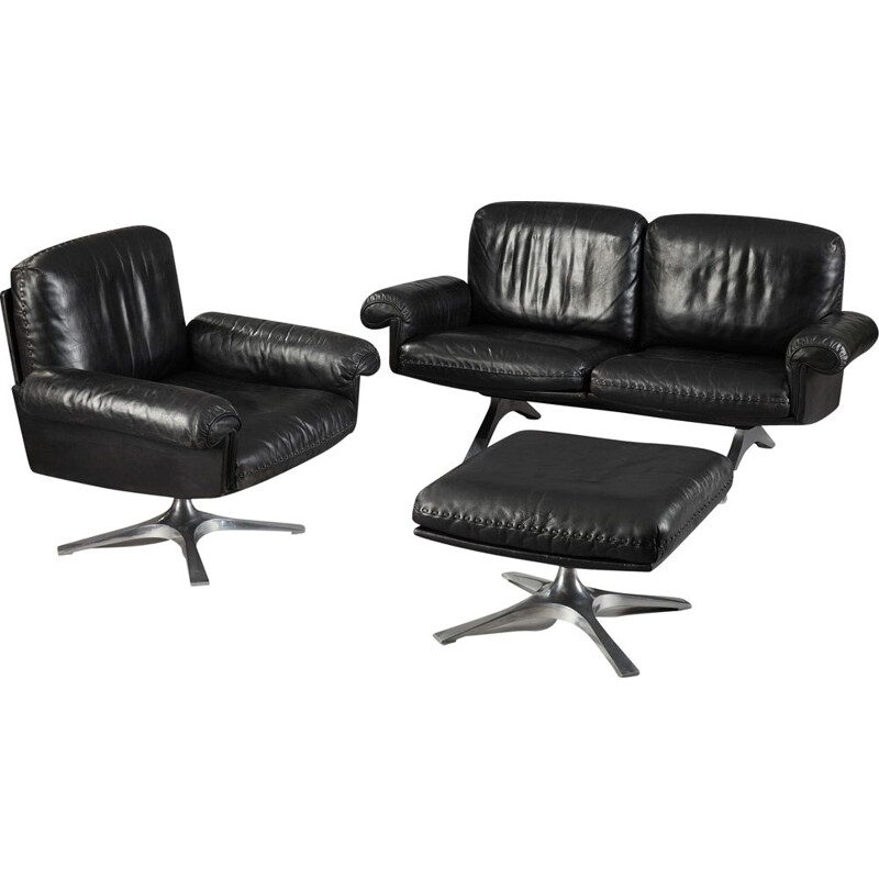 Set of vintage living room DS31 model for De Sede in black leather