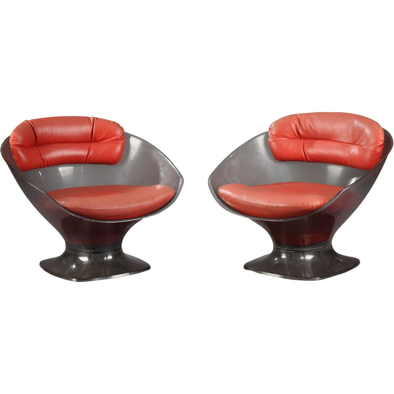 Vintage armchairs in plexiglas and red leather, Raphaël 1960