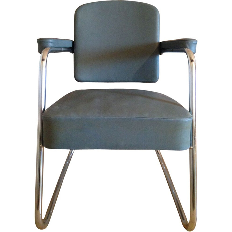 Vintage industrial gray armchair in leatherette and chrome 1970