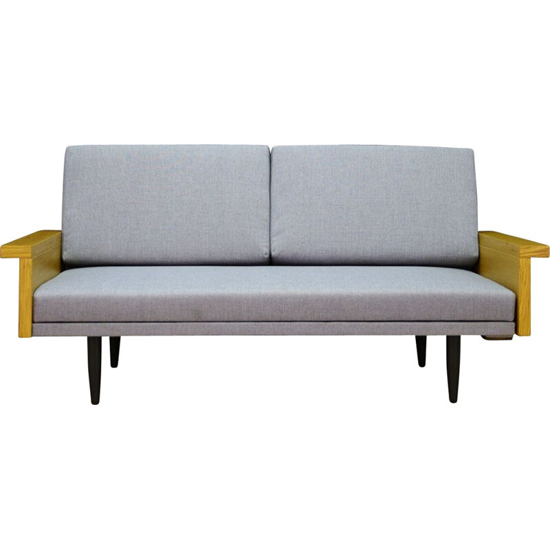 Vintage scandinavian sofa in grey fabric 1960