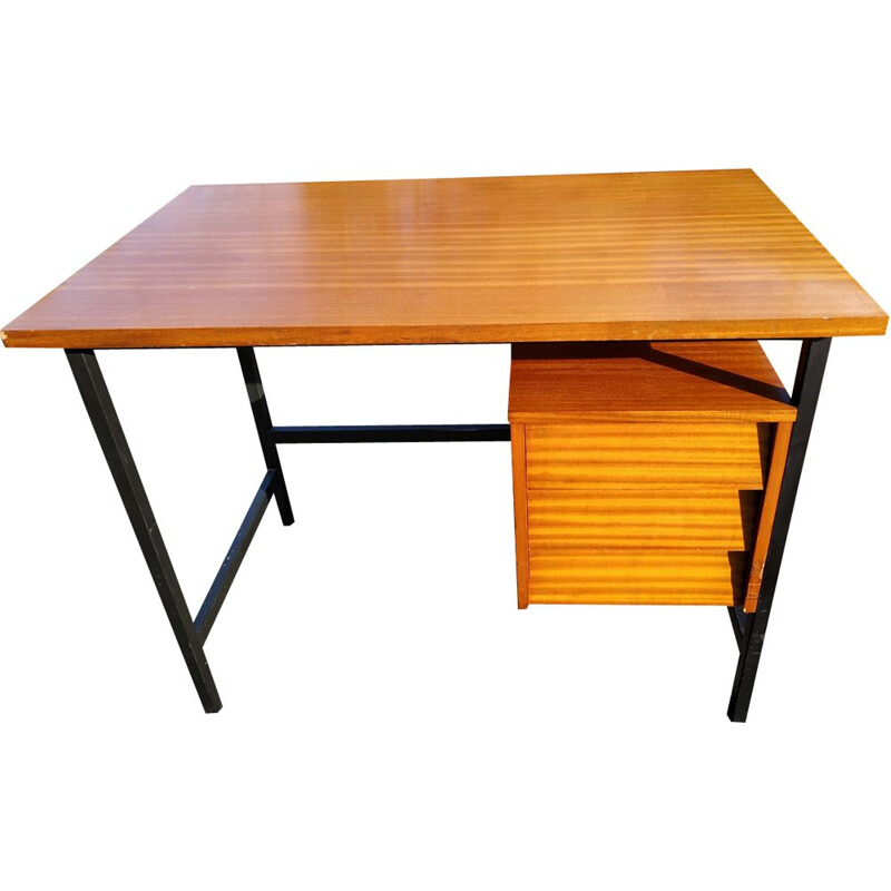 Vintage desk in wood and metal 1960s