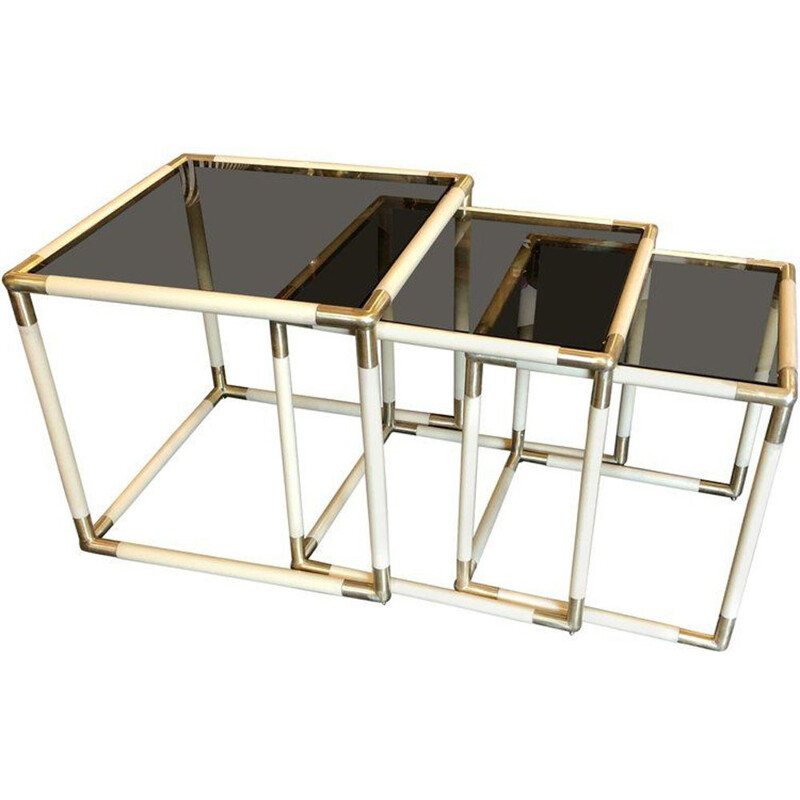 Set of  3 vintage brass and smoked glass nesting side tables by Tommaso Barbi