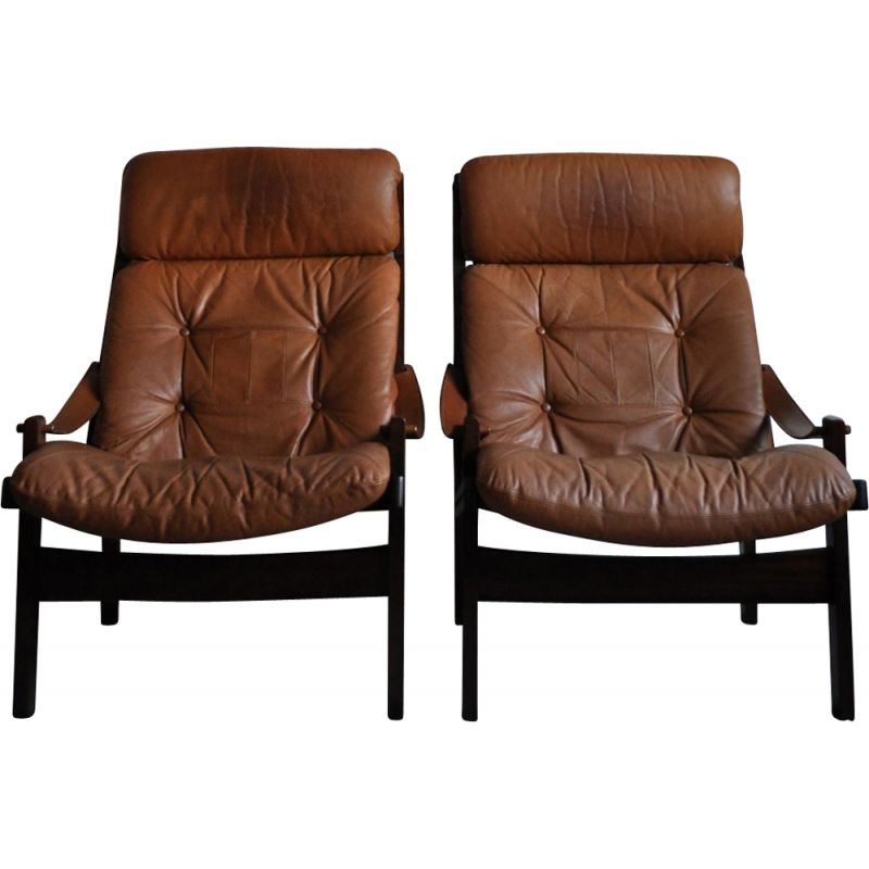Set of 2 vintage hunter highback lounge chair by Torbjørn Afdal for Bruksbo