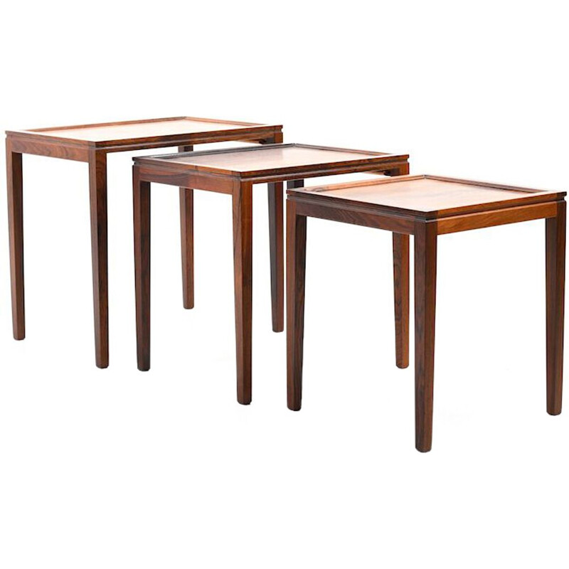 Set of 3 nesting tables in rosewood