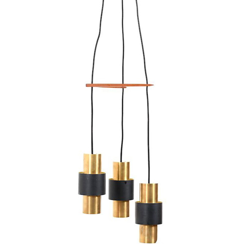 Vintage brass pendant light by Jo Hammerborg