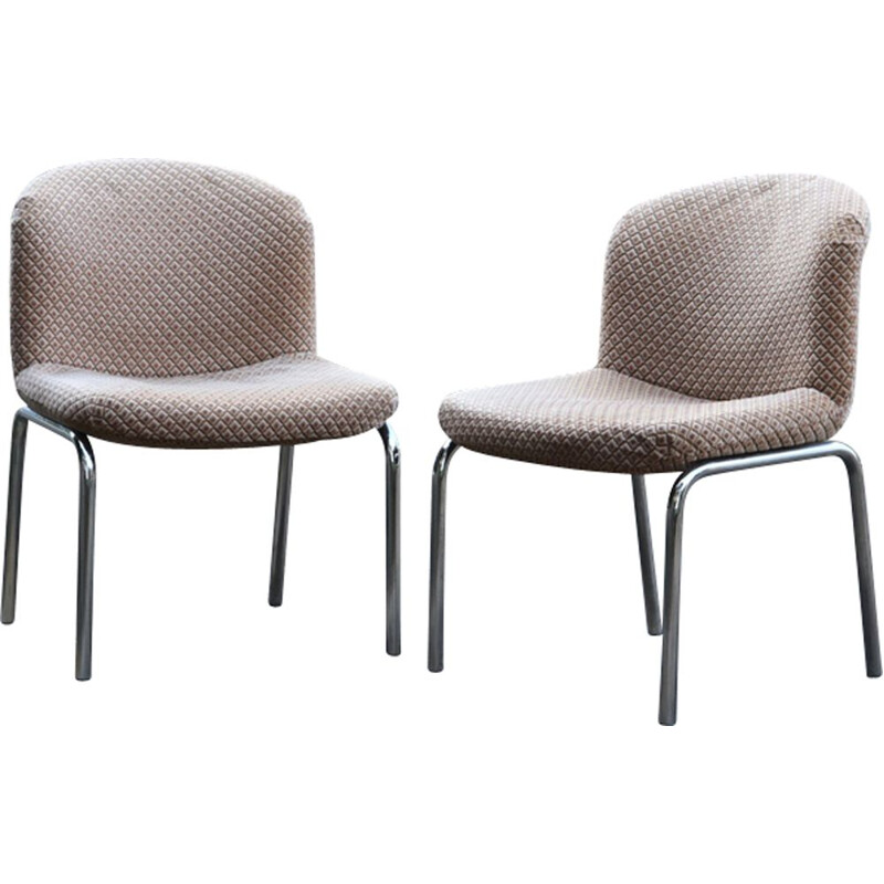 Pair of beige velvet low chairs for Mobilier International
