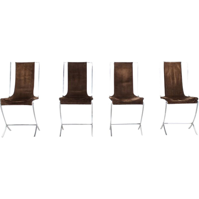 Set of 4 chairs in brown velvet by Pierre Cardin