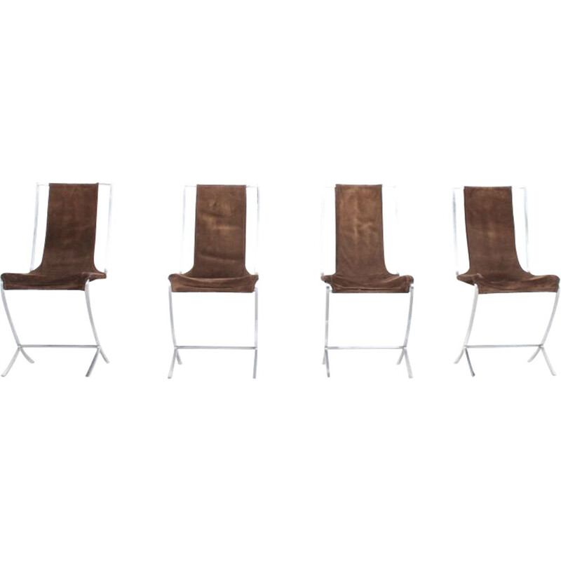 Set of 4 chairs in velvet for Maison Jansen