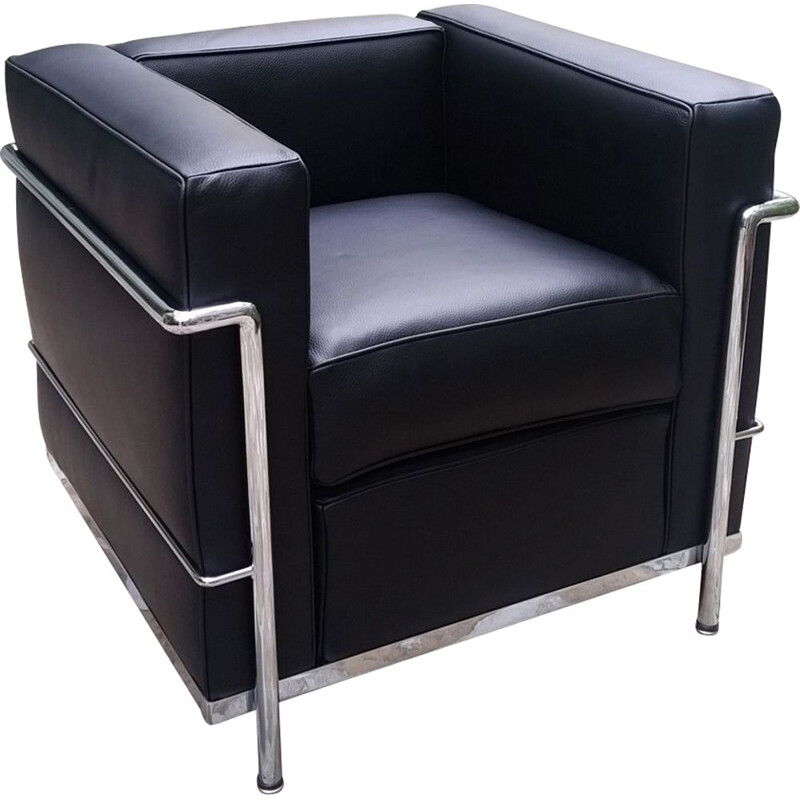 Black LC2 armchair by Le Corbusier for Cassina
