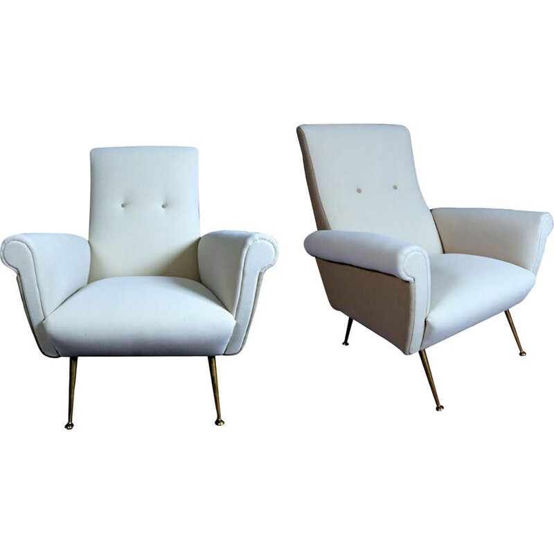 Pair of beige fabric Italian armchairs