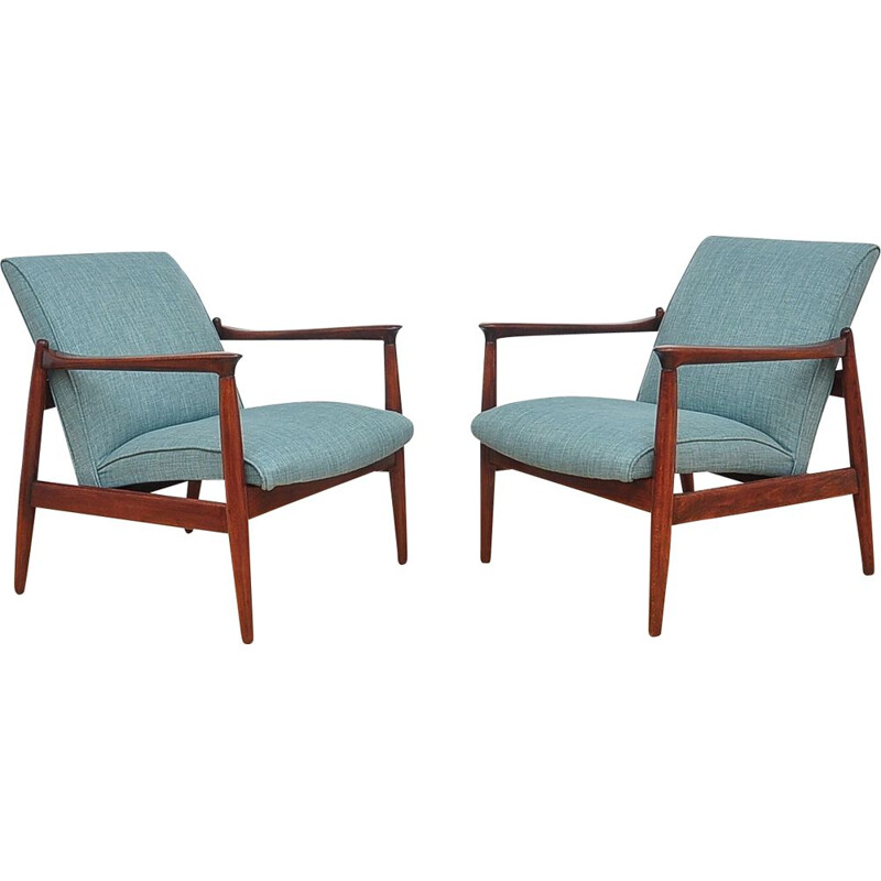 Pair of vintage armchairs in beechwood
