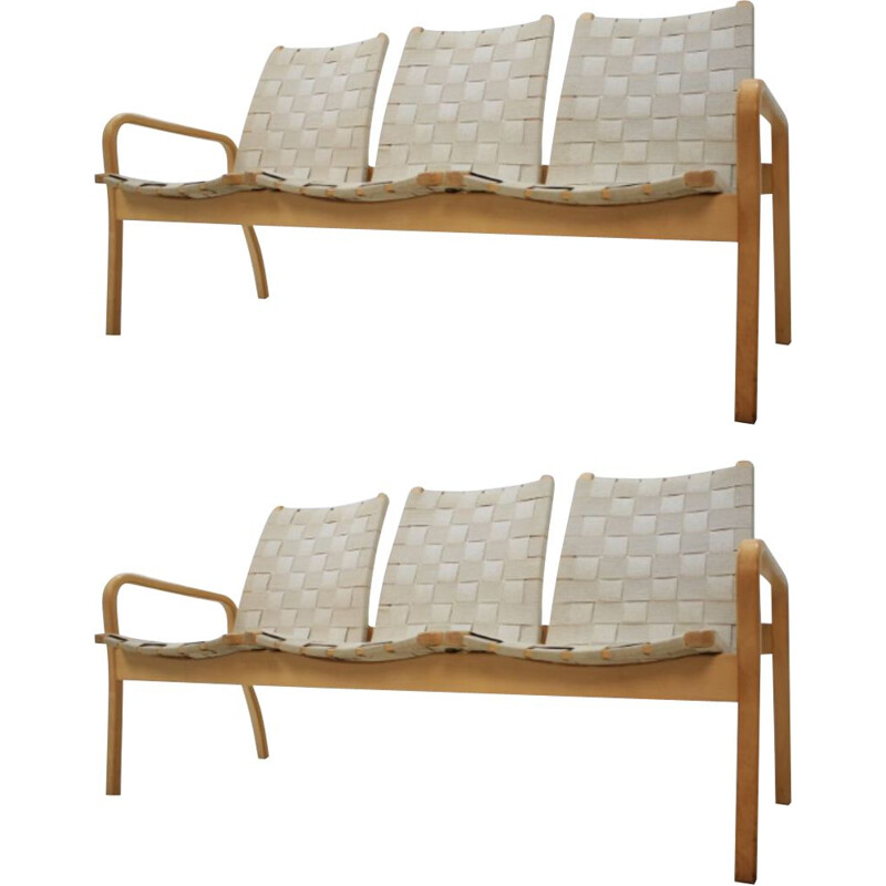 Pair of vintage Swedish 3-seater sofas