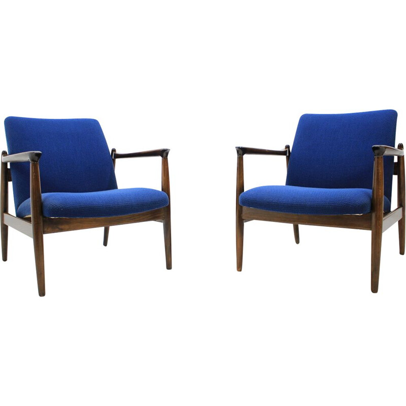 2 vintage blue armchairs by Edmund Homa