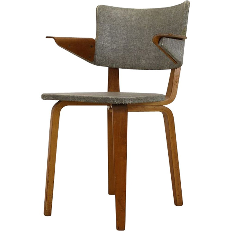 Vintage Dutch armchair in plywood by C. Den Boer Gouda