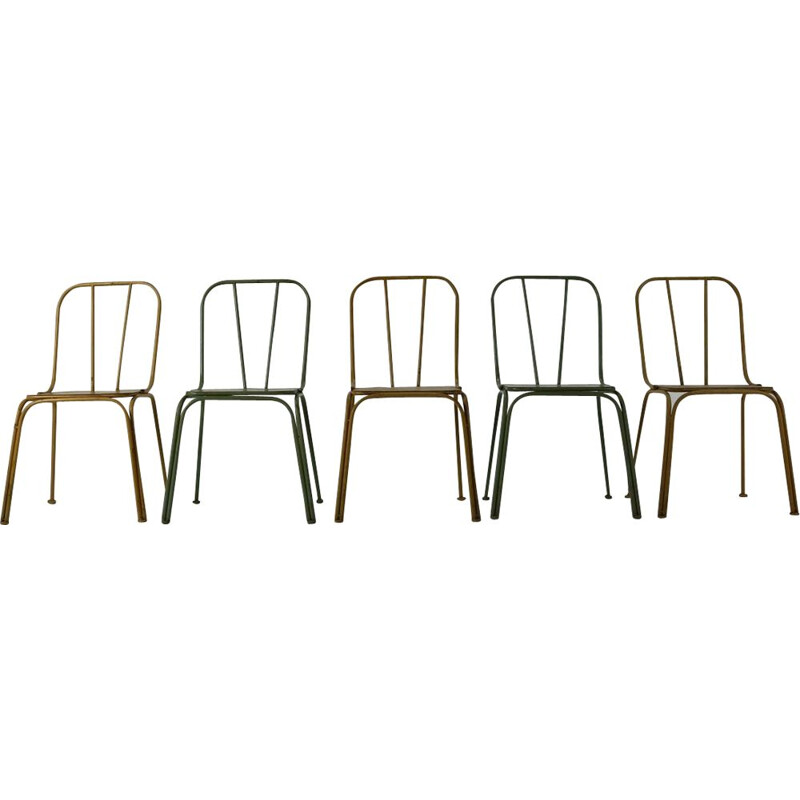 Set of 5 vintage Danish bistro chairs in metal