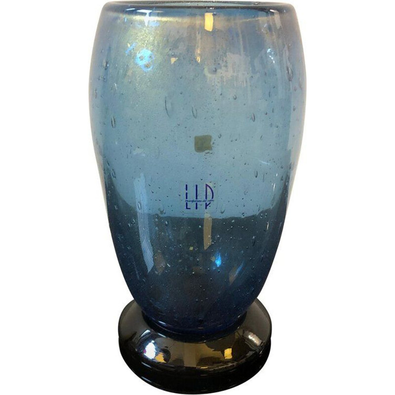 Vintage black and blue murano glass vase by Marcello Furlan for L.I.P.