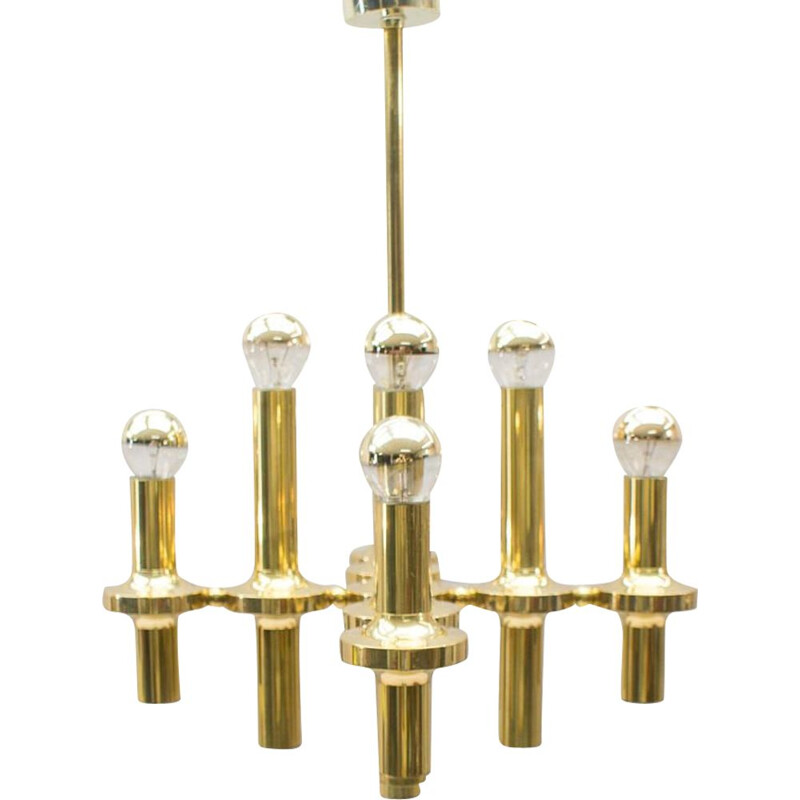 Vintage gold Chandelier in brass, Italy 1960s