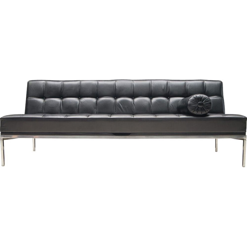 vintage black sofa in leather constanze by Johannes Spalt for Wittmann
