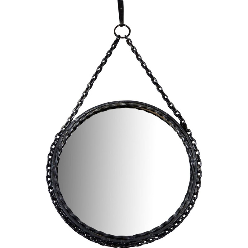 Vintage Black mirror made in chain of wrought iron