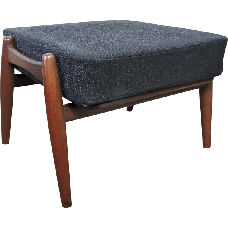 Vintage black Ottoman, made in teak and fabric, by Hans Wegner for GETAMA