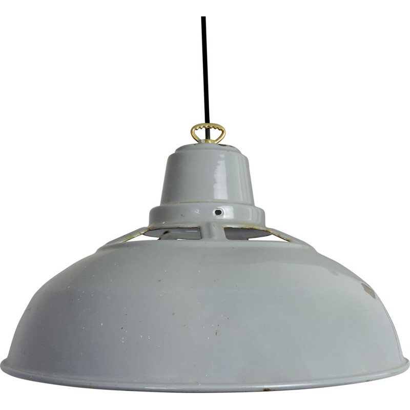 Vintage industrial grey enamel hanging lamp
