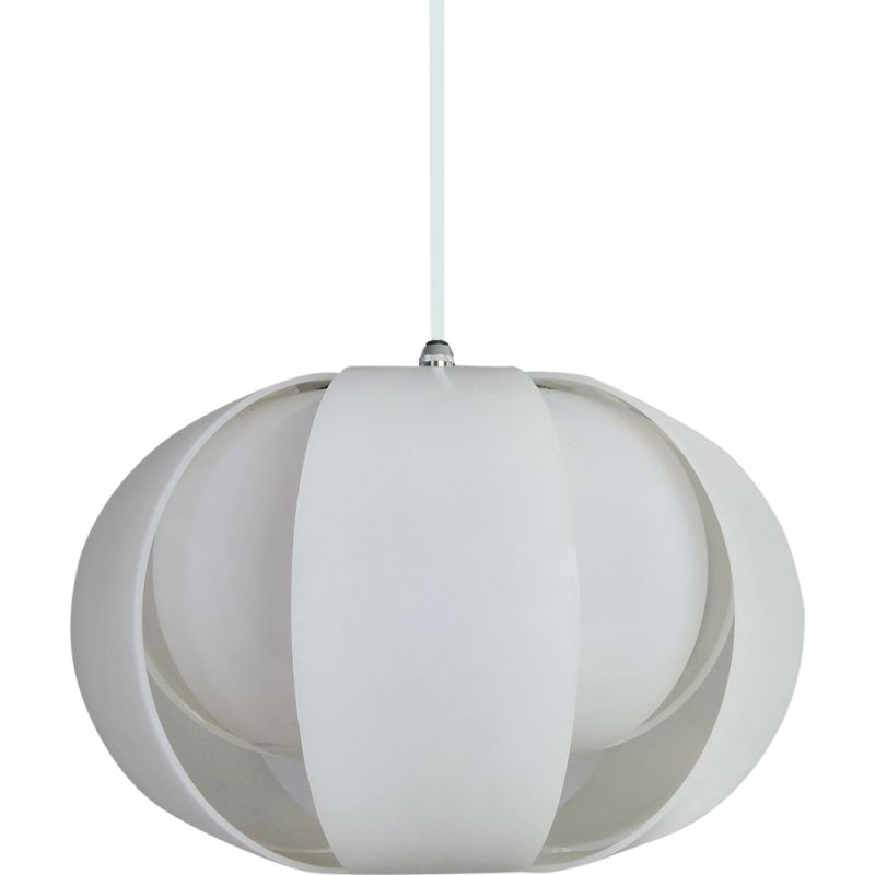Vintage white plastic and chromed metal hanging lamp
