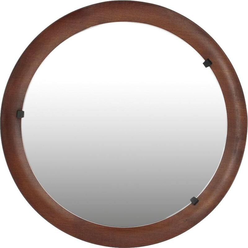 Vintage Italian round curved plywood mirror