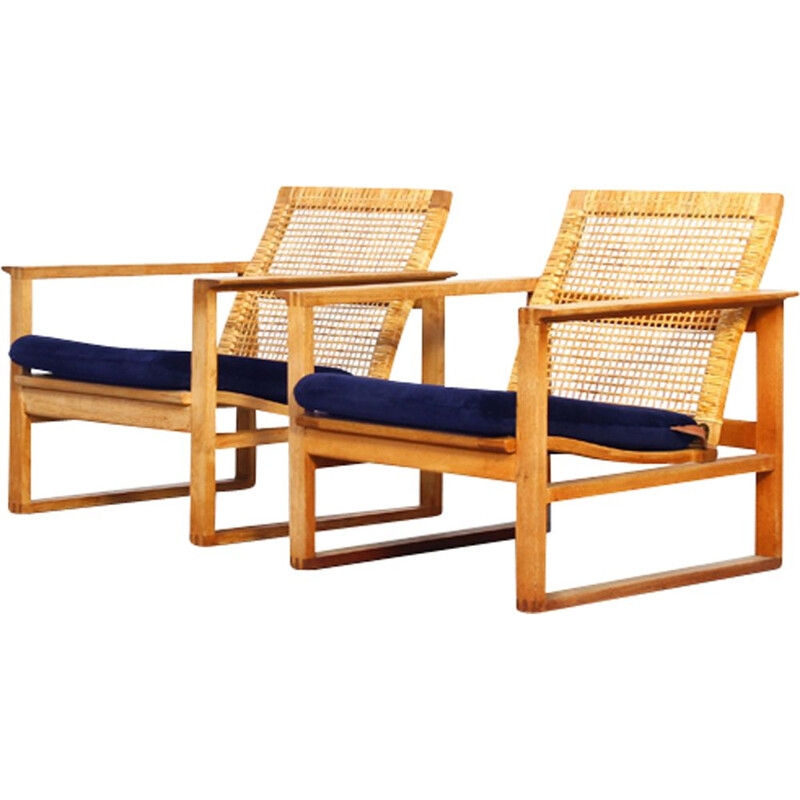Set of 2 vintage lounge chairs by Borge Mogensen for Fredericia