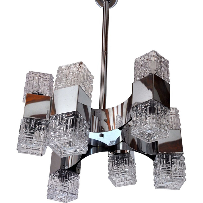 Vintage chromed and glass chandelier, 6 arms, 1960