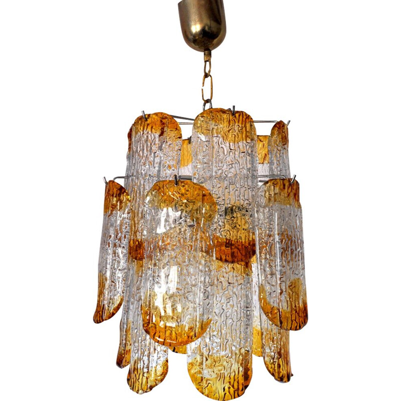Vintage chandelier Mazzega Murano orange