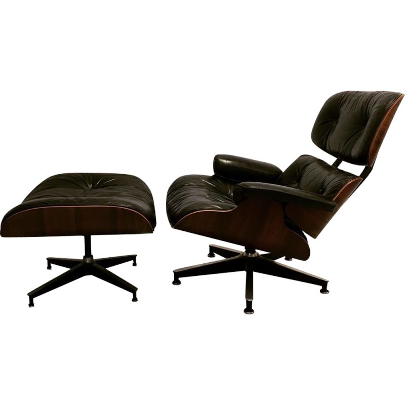Vintage lounge chair with ottoman by Eames for Herman Miller 1975