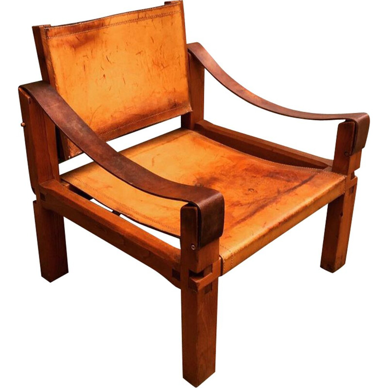 "Vintage armchair S10 ""Sahara"" in leather and elm by Pierre Chapo Circa 1960"