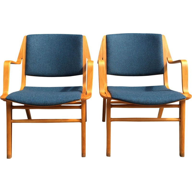 Pair of vintage blue AX armchairs by Peter Hvidt edition Fritz Hansen circa 1960