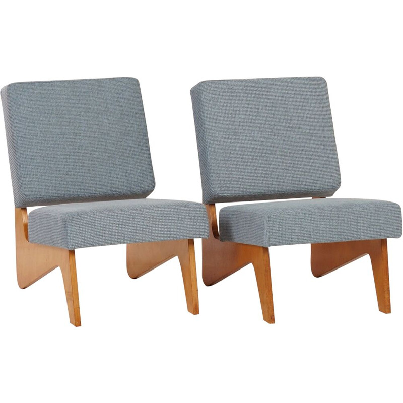 Pair of vintage blue Combex FB03 armchairs by Cees Braakman for Pastoe in 1952