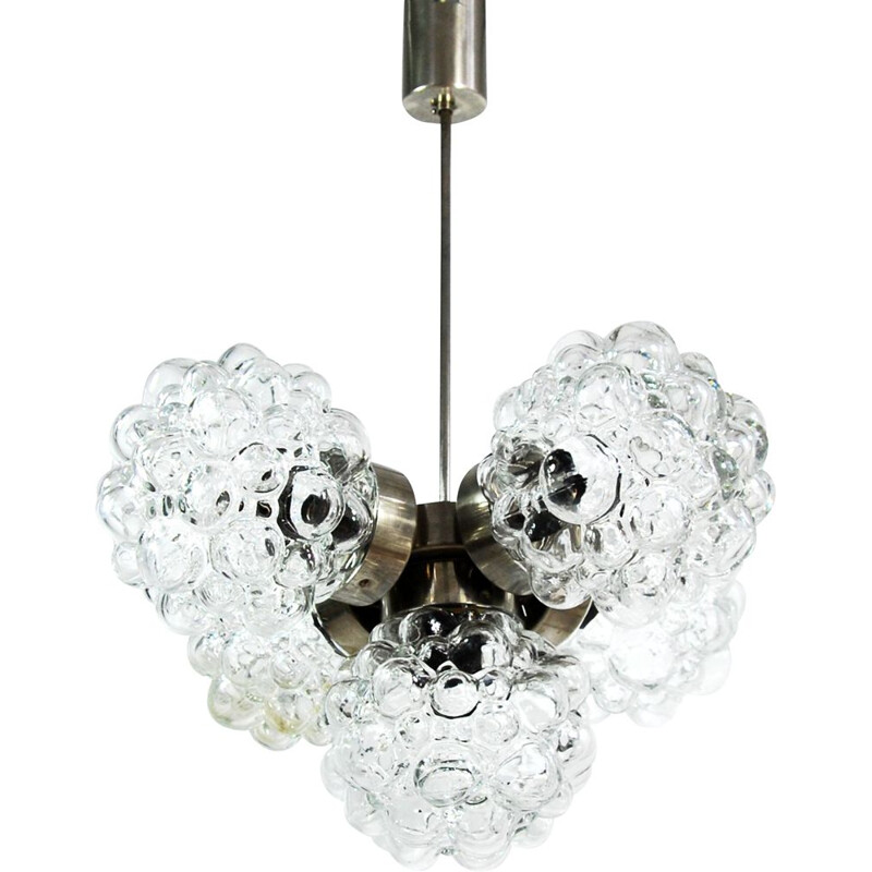 Vintage Brusel chandelier for Kamenický Šenov in glass and metal 1960s