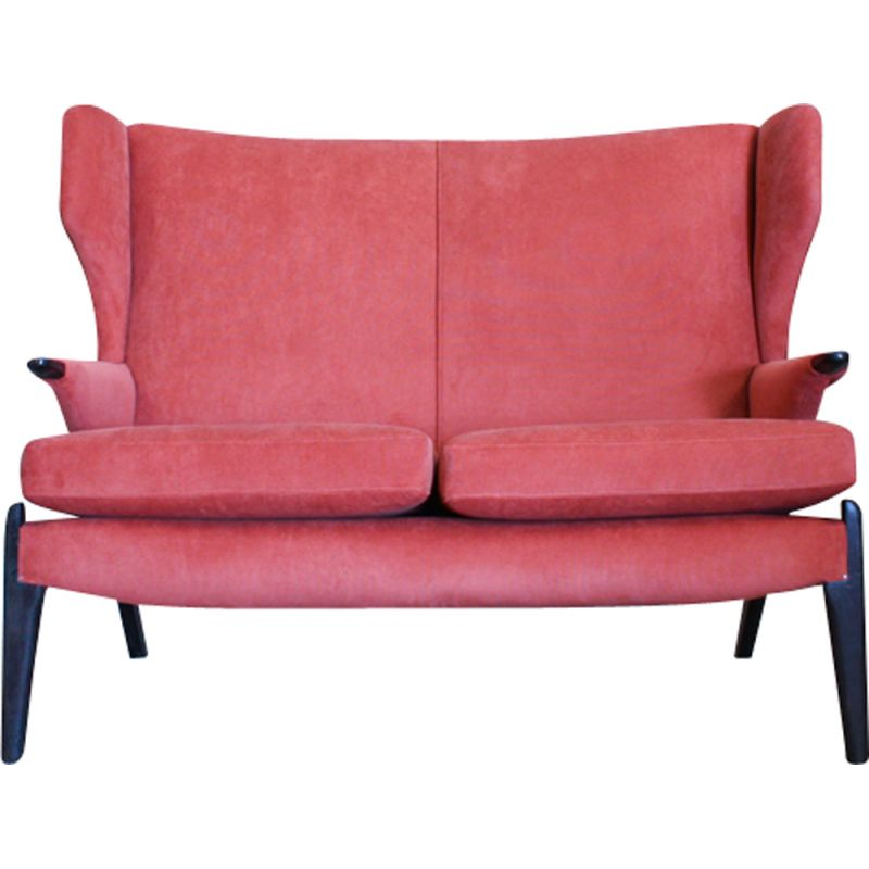 Vintage sofa by Parker Knoll in teak and coral fabric 1960s