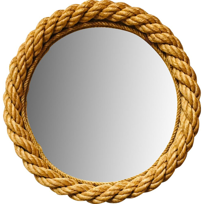 French vintage mirror in rope 1950