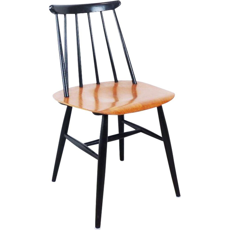 Vintage Fanett chair for Edsbyverken in black teak 1950