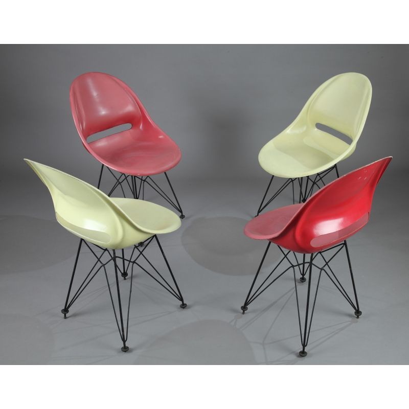 Set of 4 vintage red and yellow fiberglass chairs  sc 1 st  Vintage Design Furniture & Set of 4 vintage red and yellow fiberglass chairs - Design Market