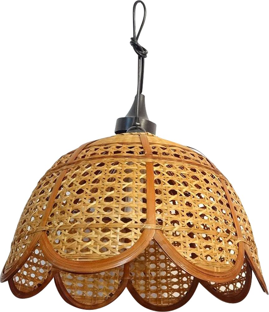 Vintage Wicker And Rattan Pendant Lamp