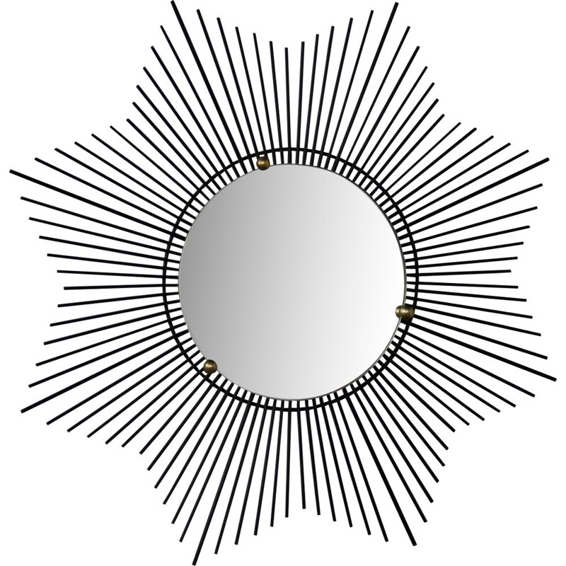 Vintage Sun mirror in black metal