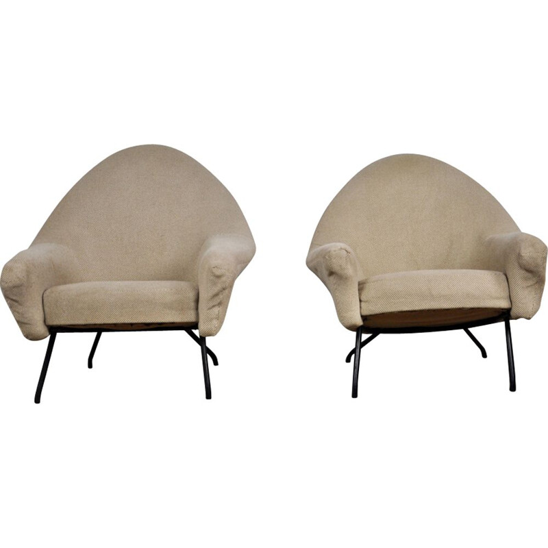 Pair of armchairs in beige fabric by Joseph-André Motte for Steiner