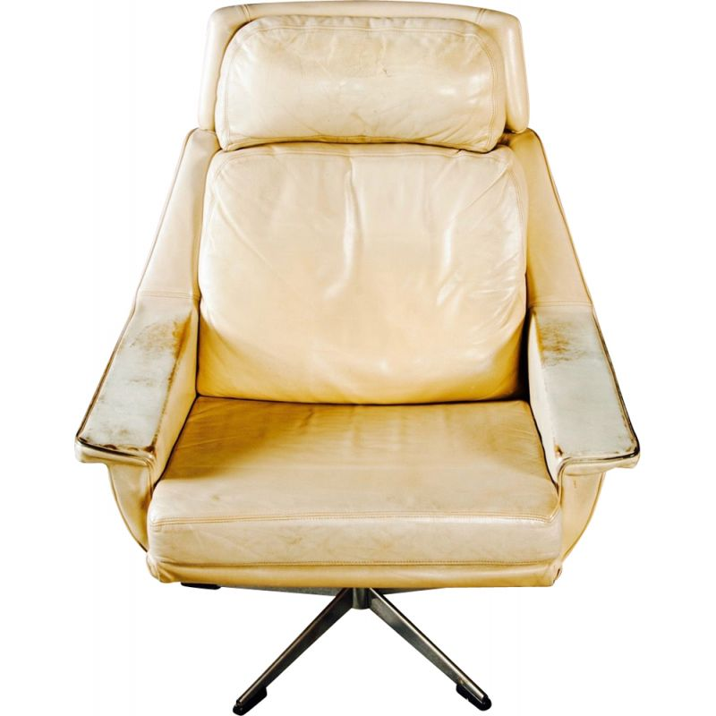 Vintage swiveling armchair in leather and metal 1960