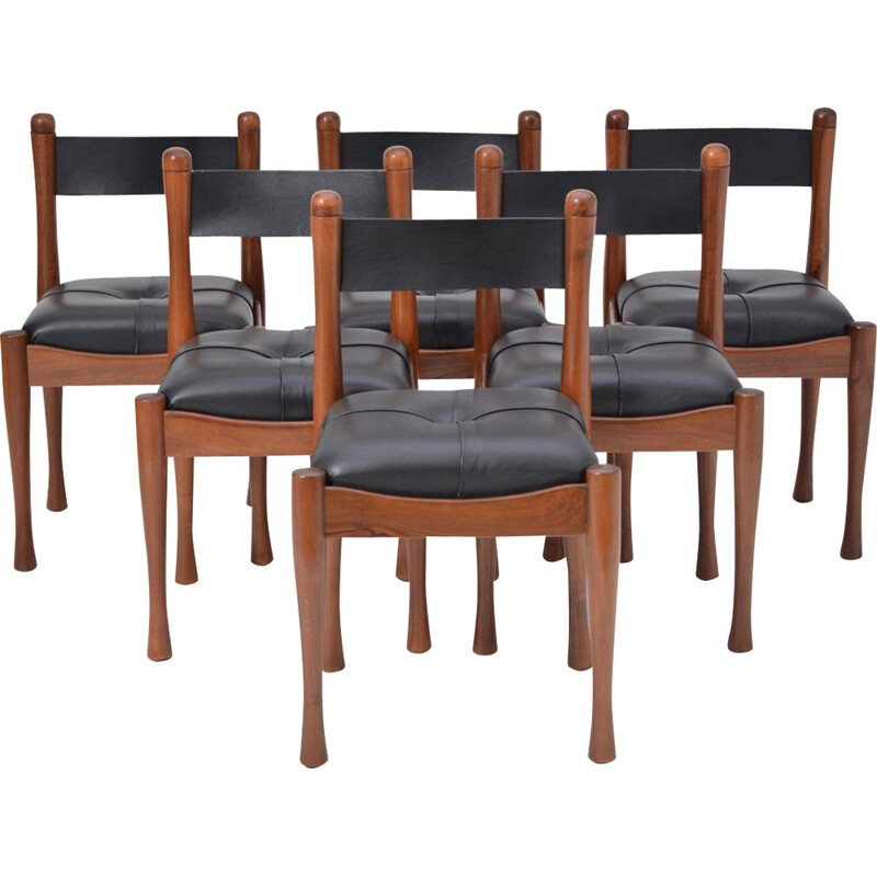 Set of 6 Italian dining chairs by Silvio Coppola for Bernini