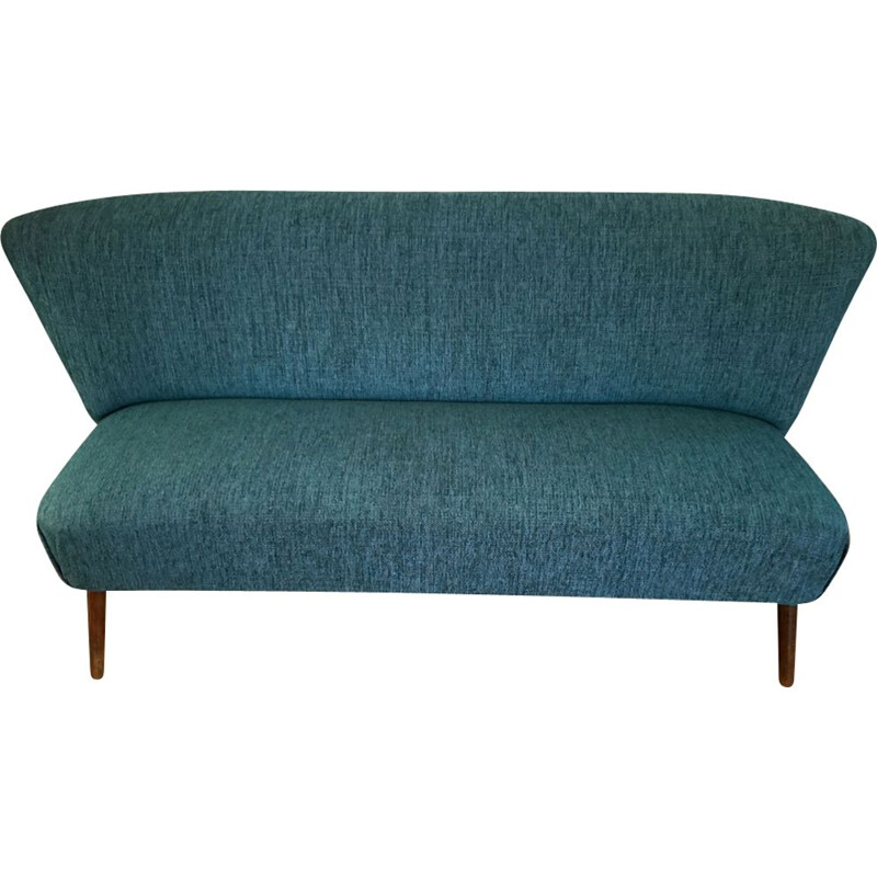 Vintage sofa in blue velvet